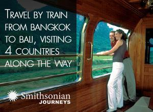 Travel by train from Bangkok to Bali, visiting 4 countries along the way