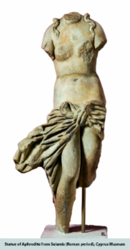 Statue of Aphrodite, excavated at Salamis, Cyprus. Image courtesy of the Cyprus Museum.