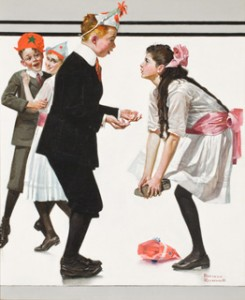 "Norman Rockwell, ""Children Dancing at a Party (Pardon Me),"" 1918 oil on canvas Collection of Steven Spielberg © 1918 SEPS: Licensed by Curtis Publishing, Indpls, IN. All rights reserved."