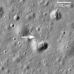 A tiny glint shows where Lukhod 1 can be found on the Moon (Credit: NASA/GSFC/Arizona State U.)