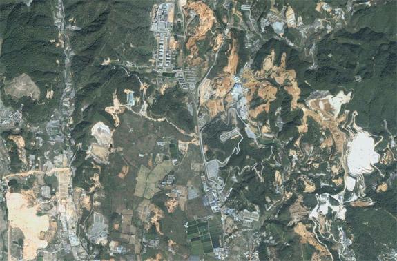 Rare earth mining near Longyan, Fujian Province, China