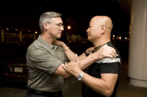 John Stiles and Hong My meet in Washington on April 26. (<i>Photo by John Fleck</i>)