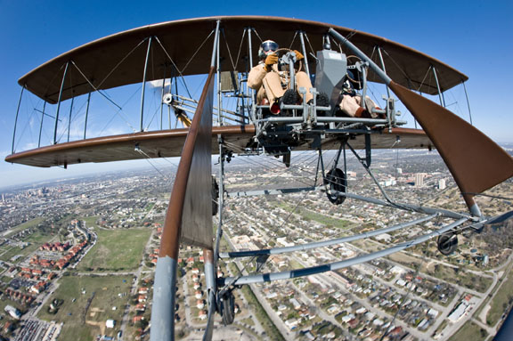 "Wright ""B"" Flyer Inc. volunteer pilots Rich Stepler and Don Stroud over Ft. Sam Houston's MacArthur Parade Ground last March. (USAF/ Lance Cheung)"