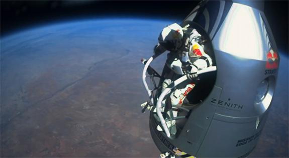 three views of felix baumgartner�s recordbreaking skydive