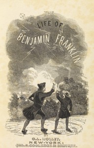 Benjamin Franklin flies a kite in a thunder storm. Frontispiece to The Life of Benjamin Franklin, 1848 (courtesy of The Royal Society)