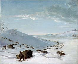 Buffalo Chase in Winter, Indians on Snowshoes, by George Catlin, at Smithsonian American Art Museum