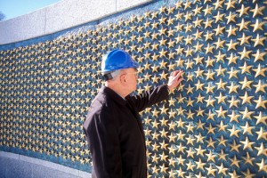 The wall of 4,048 stars; each one represents 100 Americans who died in the war. Photo by Rick Latoff / American Battle Monuments Commission.