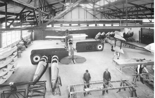 Interior of the de Havilland hangar where the Canadian Air & Space Museum now resides