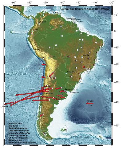 Map showing movement at GPS stations following the recent Chilean earthquake (credit: University of Hawaii)