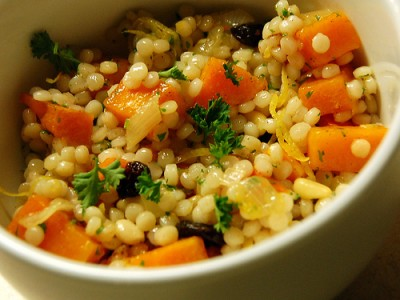 Israeli couscous with roasted butternut squash and lemon, courtesy of Flickr user travelingmcmahans