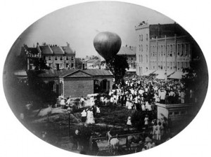 Today marks the first officially sanctioned airmail flight. On Aug. 17, 1859, balloonist John Wise carried a bag of mail on his voyage from Lafayette, Indiana to New York City. Image courtesy of the National Postal Museum.
