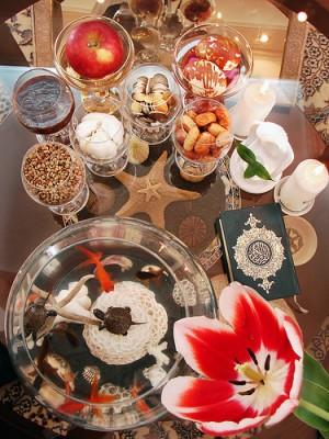 A Haft Sin table, a tradition for Nowruz. Image courtesy of Flickr user Hamed Saber