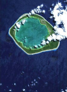 The Niau atoll in the South Pacific Ocean, taken by the European Space Agency; Courtesy of Flickr user trackrecord
