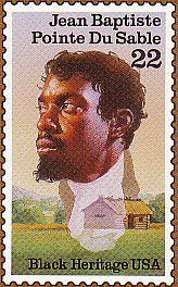 A 1987 US postage stamp commemorating Du Sable.