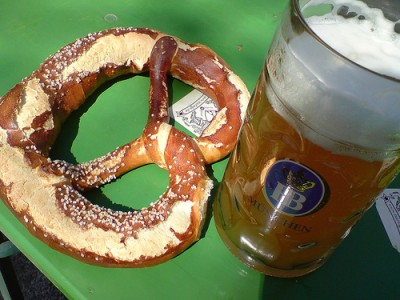 A perfect Oktoberfest meal: pretzels and beer