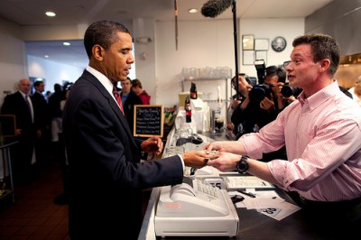 President Obama ordering a burger at Rays Hell Burger in Arlington, VA. Photo by Pete Souza, Official White House Photostream on Flickr