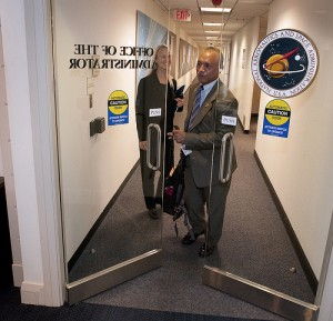 A backpack, not a spacesuit: Bolden on his first day as NASA Administrator (Photo: Bill Ingalls)