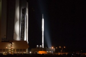 The Ares I-X makes its way to the launch pad early on October 20. (Photo: NASA)