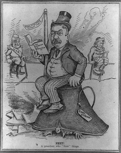 "Cartoon of Roosevelt trying to manage a series of crises, including ""Brutality in Football."" (Courtesy of the Library of Congress)."