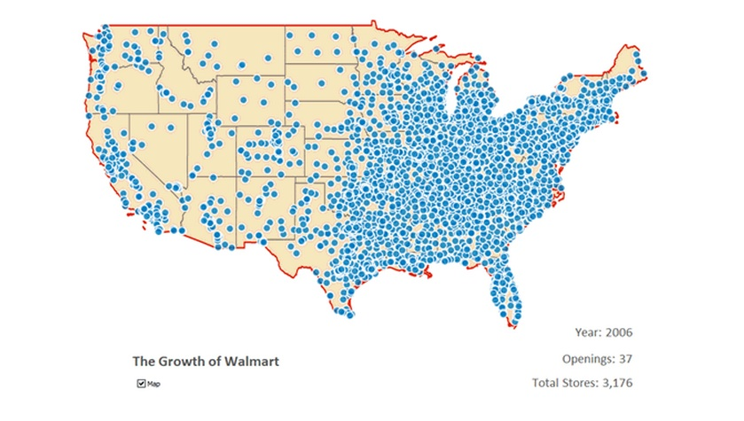 Tracking Walmarts Breakneck Expansion Across The US Smart - Map of walmarts in us