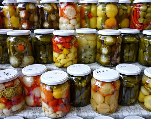 Jars full of pickled goodies, courtesy of Flickr user Jo Peattie