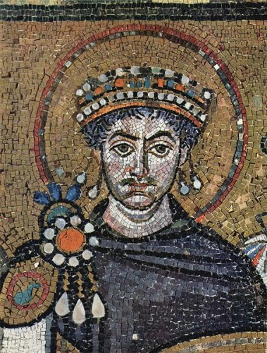 The Emperor Justinian, from a mosaic at Ravenna. Image: Wikicommons.