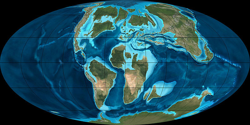 A snapshot of the world during the Cretaceous, about 90 million years ago. From Wikipedia.
