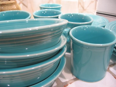 Turquoise fiesta ware, courtesy of Flickr user jigabugbaby