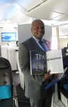 Marcellus Rolle of Boeing Communications shows off our 787 story in the June/July issue of Air & Space. (Photo: Caroline Sheen)