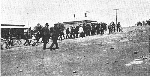Aftermath: men return to town after the Battle of Broken Hill.