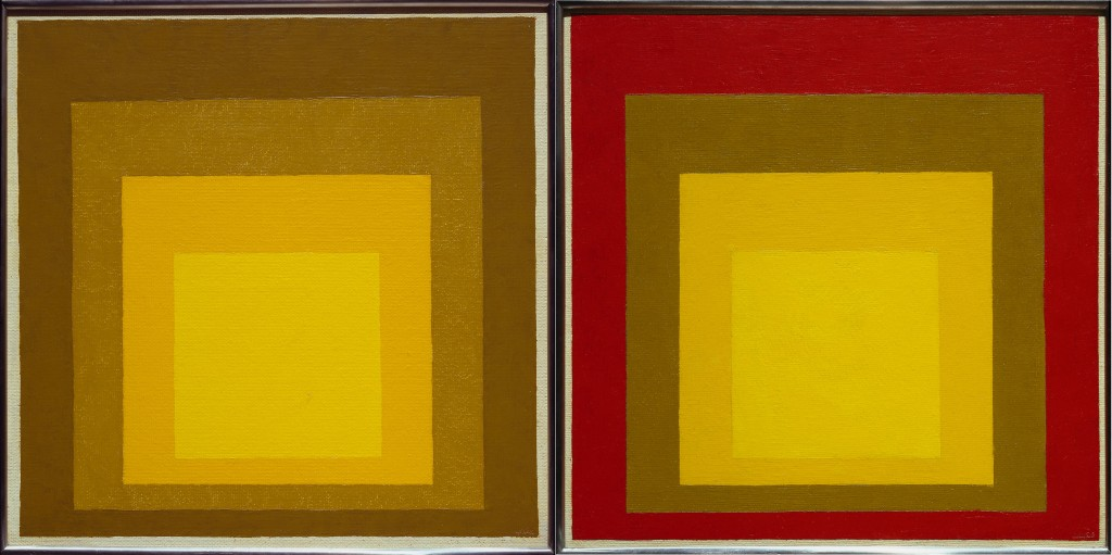 Just Squares? Very similar color schemes give very different impressions in two pieces from his series, 'Homage to the Square'