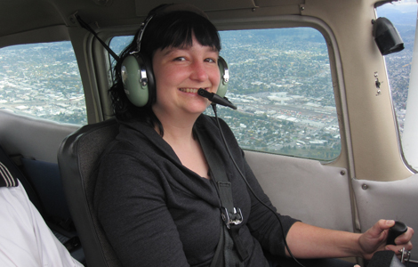 The first flight for Ann Smith Larson. Photo courtesy Henrik Kalberg, instructor, Hillsboro Aviation.