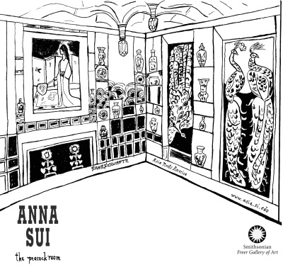 The illustration, by Sara Schwartz, of James McNeill Whistler's Peacock Room that now appears on an Anna Sui t-shirt. Image courtesy of the Freer Gallery of Art.