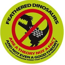 "Logo of the ""feathered dinosaur protest movment"", from I Heart Chaos."