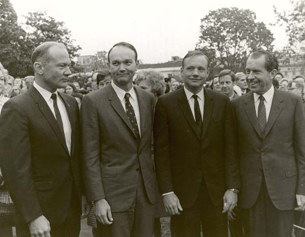 "Armstrong: ""Where do I sign? Not."" The Apollo 11 crew arrives at the White House at the conclusion of their 45-day Giant Step Presidential Goodwill Tour, November 1969. Photo: NASA"