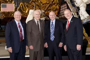 From left: Fred Haise, Jim Lovell, Tom Mattingly, Gene Kranz, at the National Air and Space Museum, April 15, 2010. Photo: Mark Avino