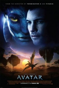"The poster for Avatar, with the pterodactyl-like ""Banshee"" visible at the bottom."