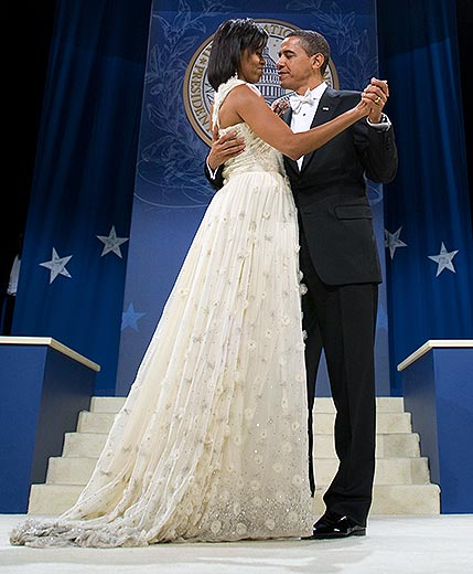 Michelle Obama in her inaugural gown. Credit: AFP PHOTO / Saul Loeb / Newscom