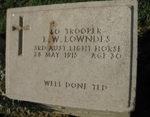 An engraved headstone honors an Australian soldier who died on Turkish shores during the 1915 Allied assault on the Gallipoli Peninsula. Photo by Alastair Bland.