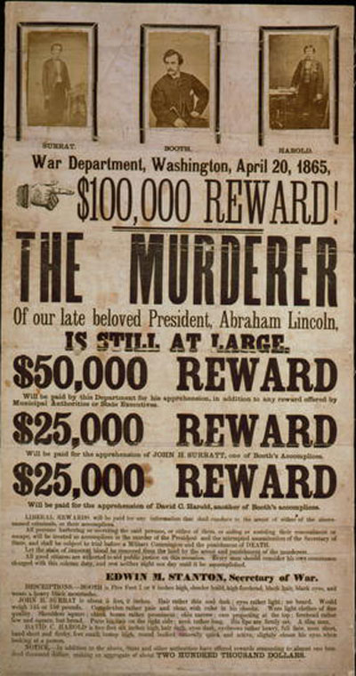 wanted poster john wilkes booth