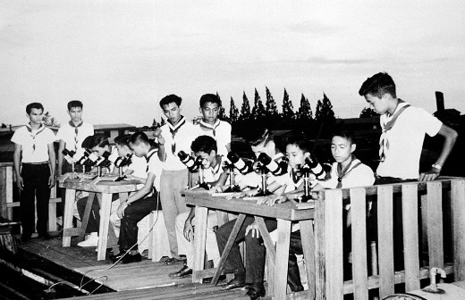 Philippine Boy Scouts participating in Operation Moonwatch in 1957, a program to track artificial satellites inaugurated by the Smithsonian Astrophysical Observatory during the International Geophysical Year. Photo courtesy of Smithsonian Collections