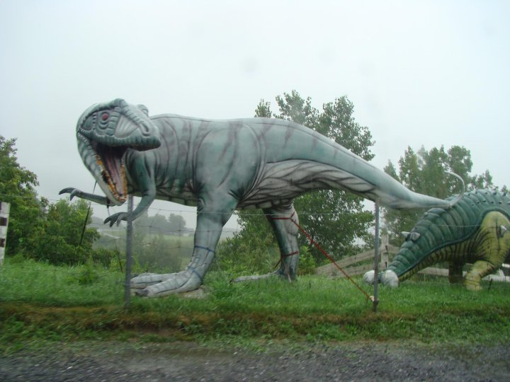 Dilapidated dinosaurs in Quebec. Photo by Ashley Rosenfeld.