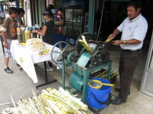 A juice vendor near Paute, just east of Cuenca, grinds sugarcane on a busy Sunday afternoon. The sweet and delicious, greenish-blue juice runs out a spigot into a bucket and is sold by the glass or bottle. Photo by Alastair Bland.