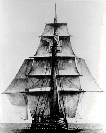 A clipper under full sail.