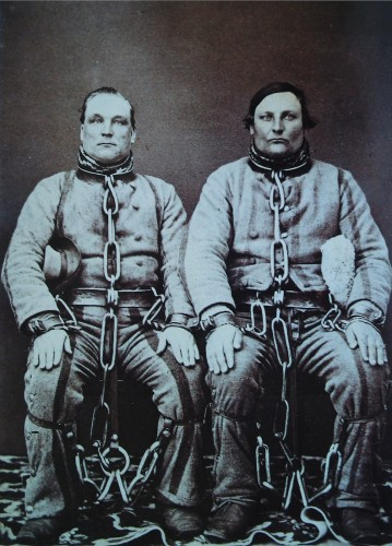 Two Australian convicts photographed in Victoria c.1860. Between 1788 and 1868, Britain shipped a total of 165,000 such men to the penal colonies it established on the continents' east and the west coasts. During the colonies' first quarter-century, several hundred of these men escaped,  believing that a walk of as little as 150 miles would take them to freedom in China.