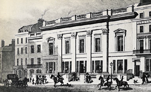 The exterior of Crockford's opulent new gambling club, opened amid great ezxcitement in 1828.