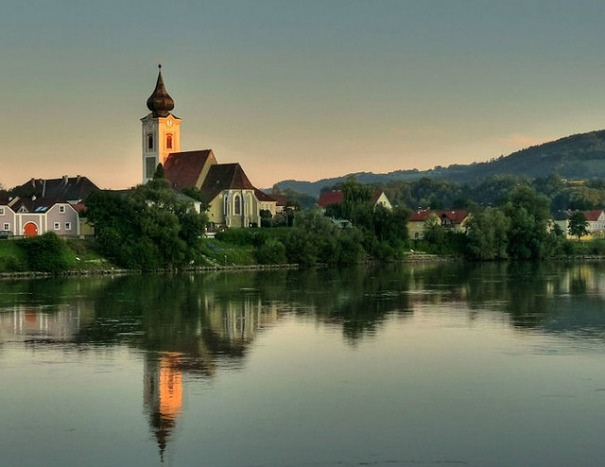 Melk, Austria seen from the Danube River