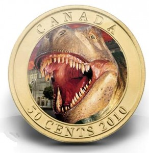 The commemorative Daspletosaurus coin issued by the Royal Canadian Mint.