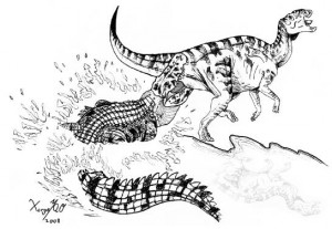 A restoration of Deinosuchus attacking a juvenile hadrosaur, as inferred from a tooth-marked bone found in Mexico. Artwork by Jorge A. Ortiz-Mendieta, from the Notebooks on Geology paper.