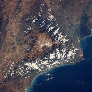 The Sierra Nevada de Santa Marta range in Colombia has traveled over 1,300 miles. Photo courtesy of Image Science and Analysis Laboratory, NASA-Johnson Space Center, and the Smithsonian.
